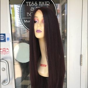 Accessories - Burgundy Wig  long Swisslace Lacefront middlePart
